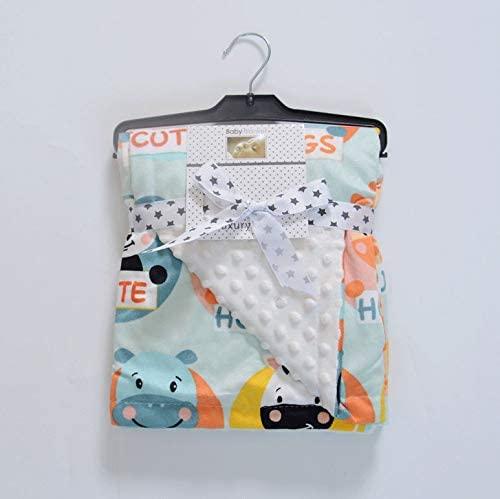 Hat Cap Exchange Super Soft 3D Embossed Mink Fleece Baby Swaddle Blanket (Happy Hippos)