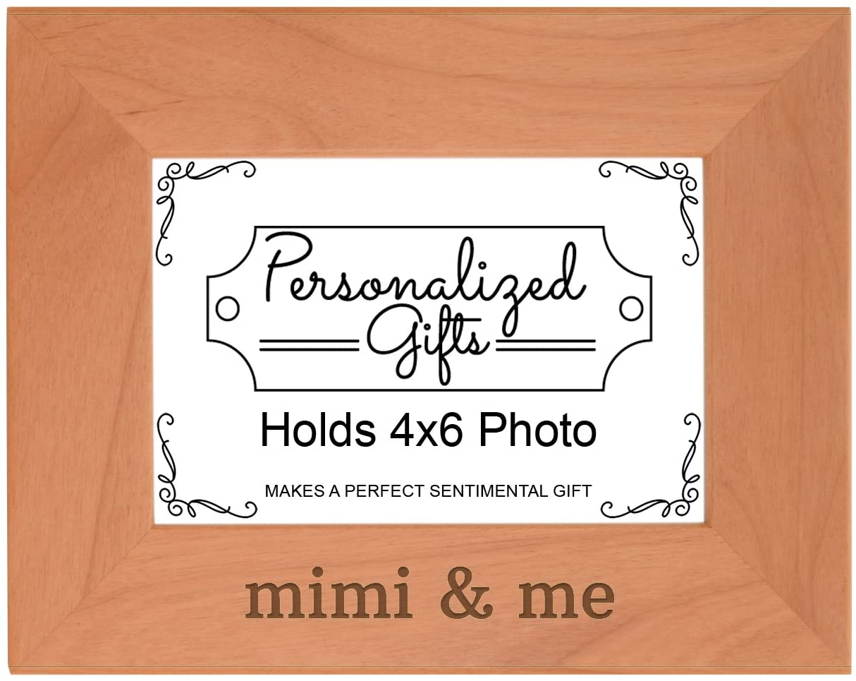 Personalized Gifts Grandma Gift Mimi and Me Grandchild Natural Wood Engraved 4x6 Landscape Picture Frame Wood
