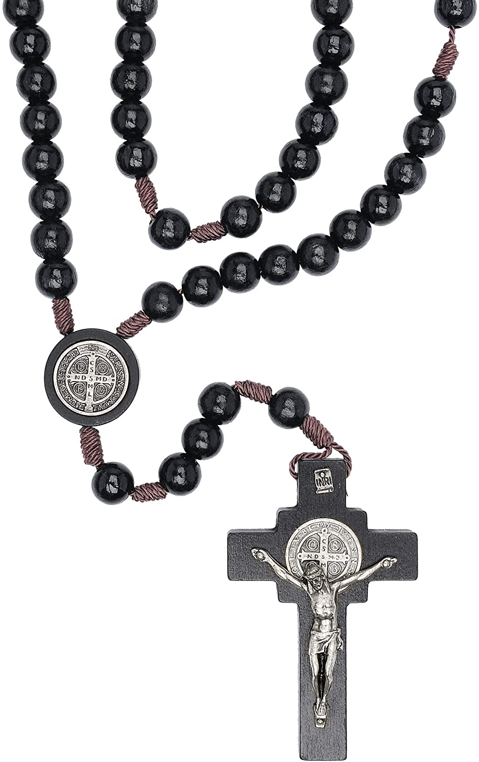 Intercession St Benedict Mens Large Rosary - Made in Brazil (Black)