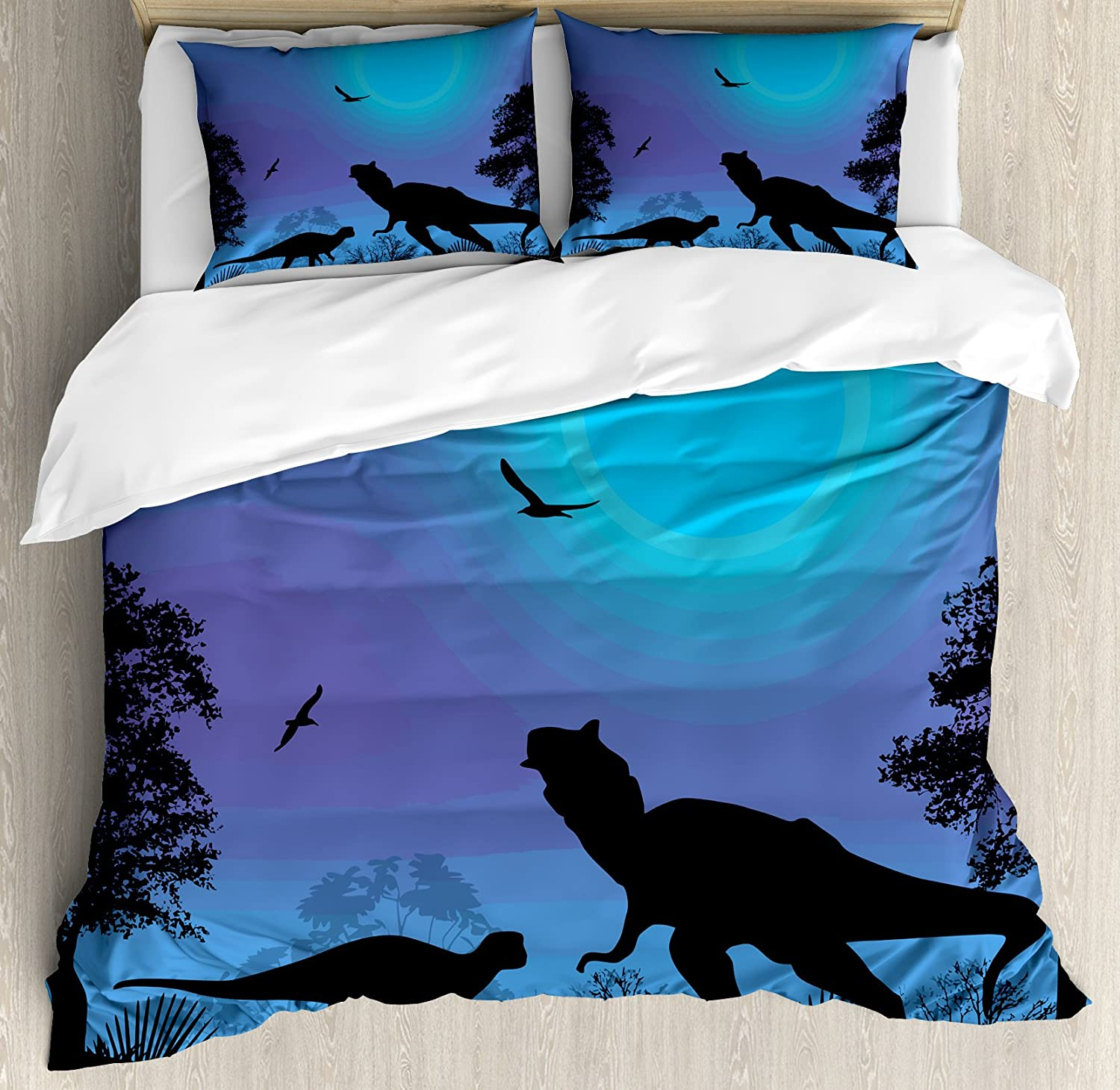 Lunarable Dinosaur Duvet Cover Set, Roaming Dinosaurs at Night with Deep Blue Sky Prehistoric Rural Landscape, Decorative 3 Piece Bedding Set with 2 Pillow Shams, Queen Size, Black Lilac