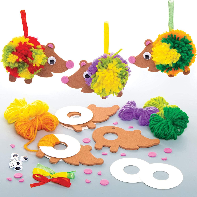Baker Ross Hedgehog Pom Pom Kits, Arts and Crafts for Kids (Pack of 3)