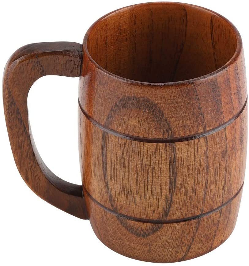 Beer Cup - Natural Wooden Beer Cup Retro Big Capacity Tea Water Classic Wood Drinking Mug with Handle