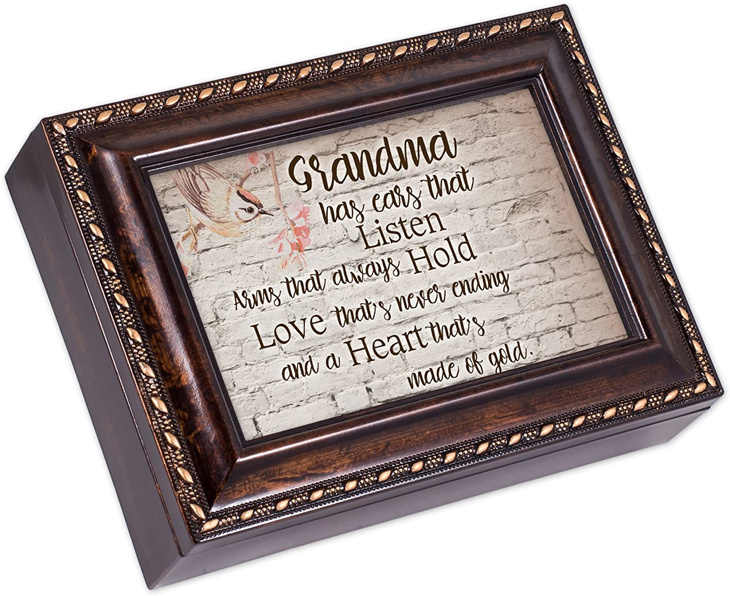Cottage Garden Grandmas Listen Hold and Love Burlwood Finish Jewelry Music Box Plays Canon in D