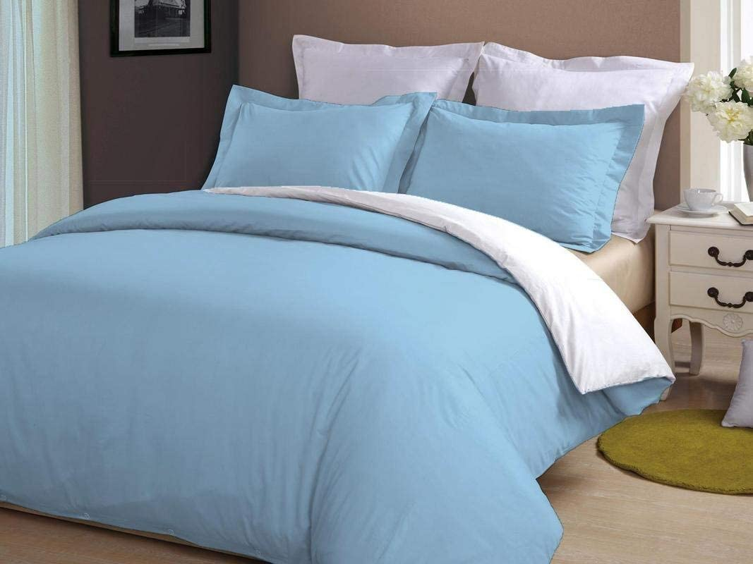 HR Luxury Linen Soft Luxurious 3-Piece Quilt Reversible Duvet Set with Corner Ties 100% Cotton 400 Thread Count Comforter Cover Set Solid (Full/Queen, Sky Blue & White)