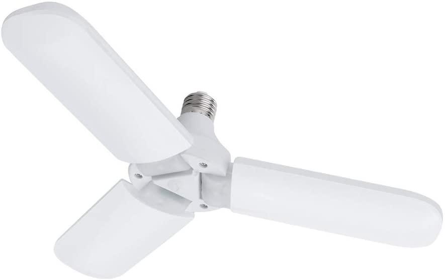 Luxvista E26 Foldable LED Garage Light Three-Leaf Fan Blade LED Light Bulb - 45W 3100LM Deformable Ceiling Light for Shop Light Basement Warehouse Parking Warm White 3000K (1-Pack)