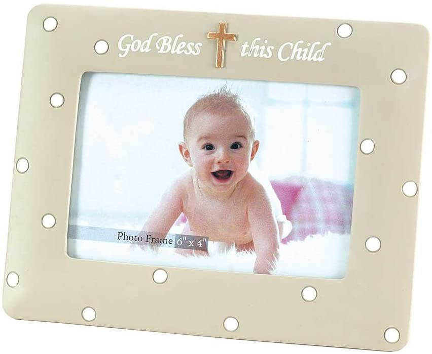Dicksons God Bless This Child Embossed Cross 6.5 x 9 Resin Stone Photo Frame Plaque
