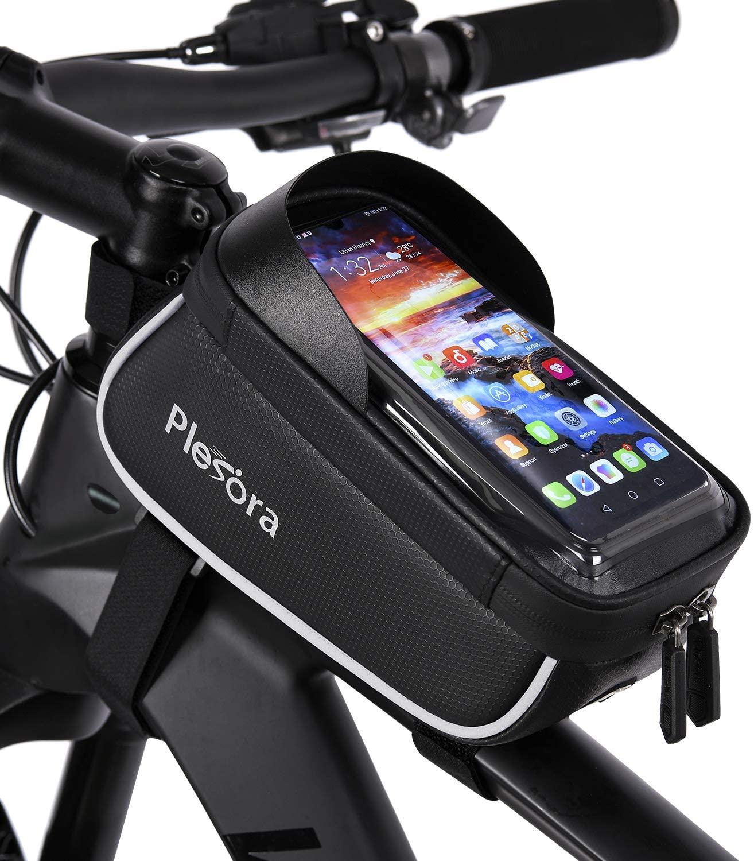 Plesora Bike Phone Bag, Bike Phone Mount Bag, Bike Frame Bag - Bike Bag for Bike Accessories | Bicycle Phone Holder for Bike, Bike Pack - Bicycle Phone Mount for Cellphones Under 6.2