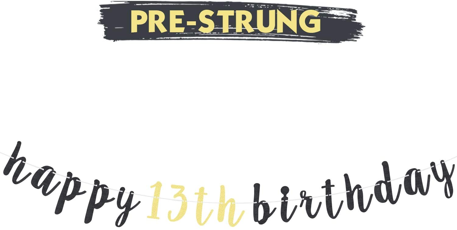 LINGTEER 13 Birthday Gift Decoration Happy 13th Birthday Glitter Garland Banner Perfect for Cheers to Thirteen Years Bday Party Decoration Sign.