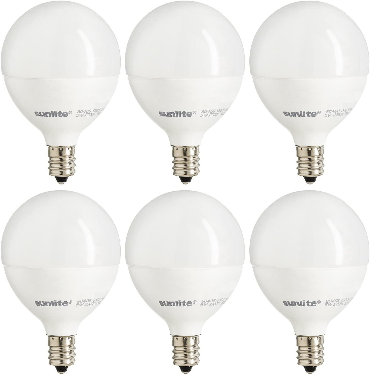 Sunlite G16.5/LED/7W/D/E12/FR/ES/27K/CD/6PK Bathroom Vanity E12 Candelabra Frost Dimmable Light Bulb (6 Pack), 60 Equivalent, 6 Count