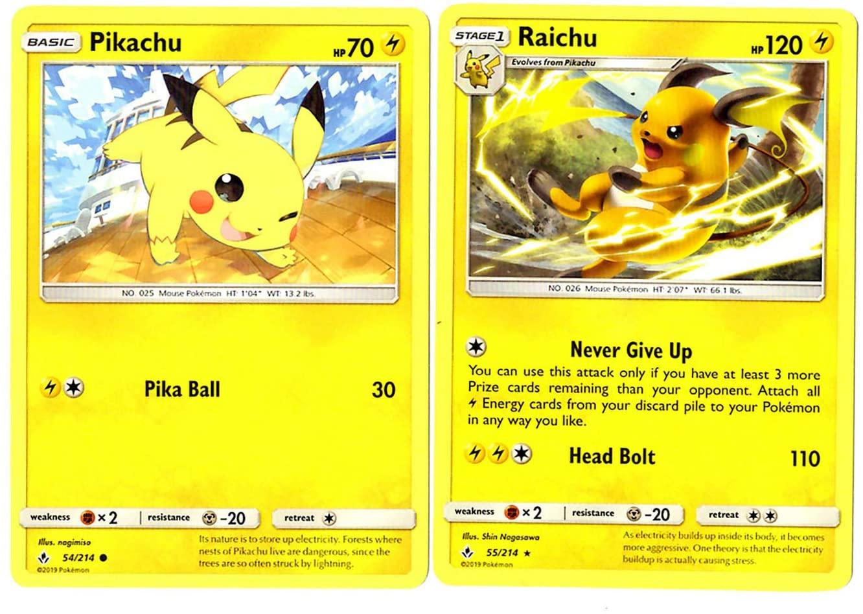 Evolution Card Set - Raichu 55/214 - Sun Moon Unbroken Bonds - Rare 2 Card Lot