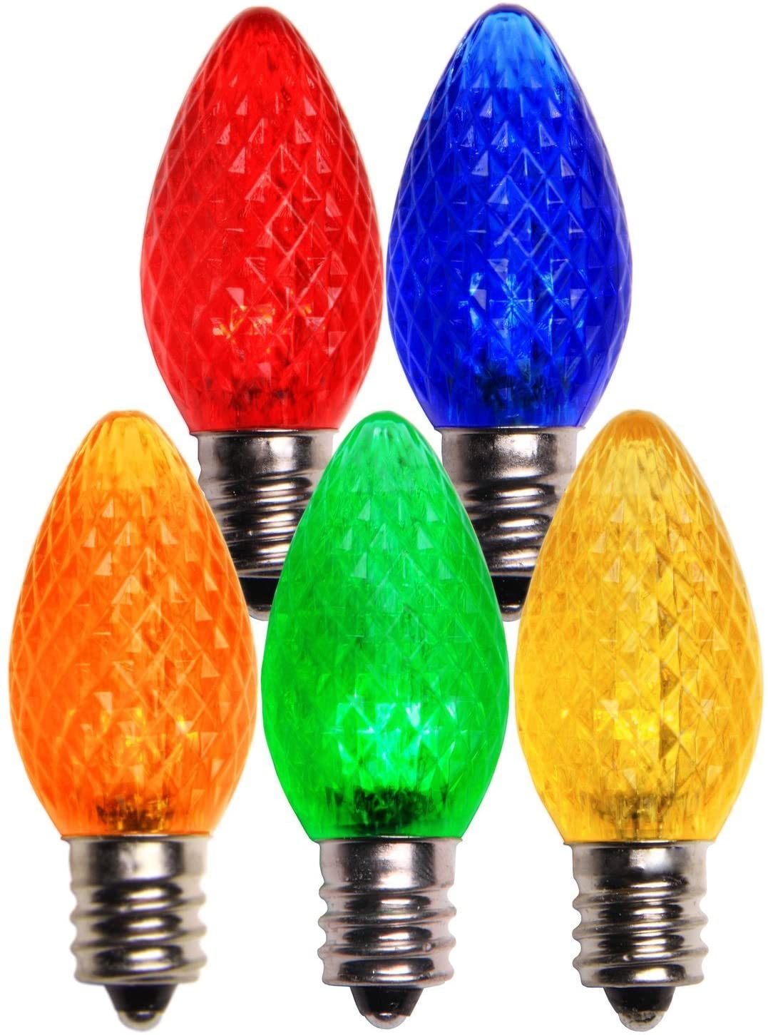 Minleon LED C7 Replacement Christmas and Holiday Light Bulbs, Commercial Grade, E12 Sockets (500, Multi-Color)