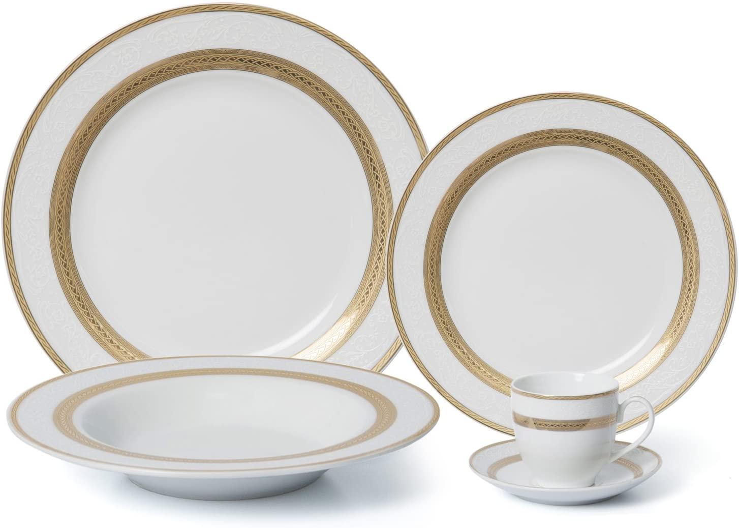 Royalty Porcelain 5-pc Dinner Set for 1, 24K Gold, Premium Bone China Porcelain (G093-5)
