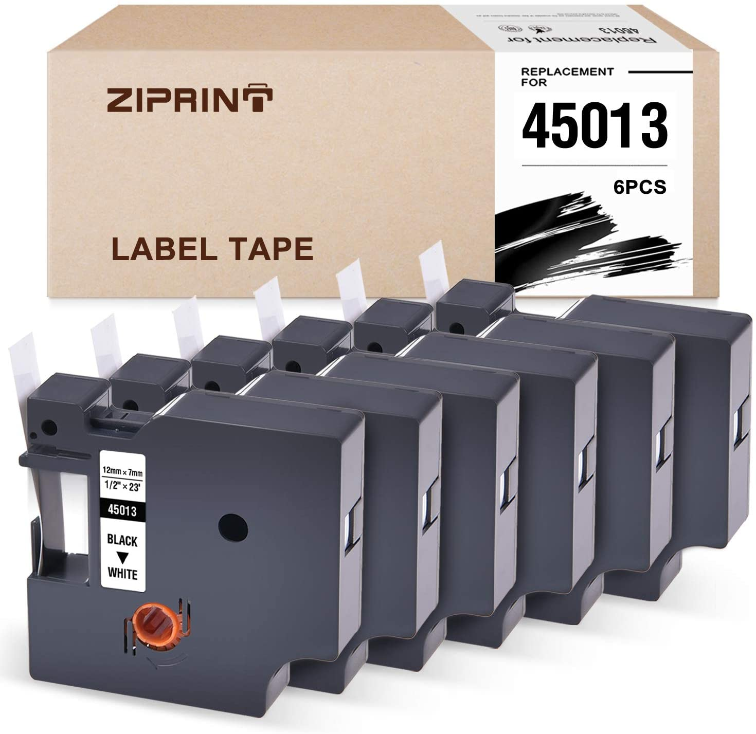ZIPRINT 6-Pack Compatible Label Tape Replacement for Dymo D1 45013 (S0720530) Standard Tape Use for DYMO LabelManager 280 160 PnP LabelWriter 450 Duo Label Makers Black on White 1/2 Inch x 23 Feet