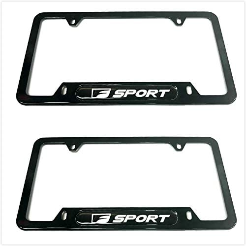Auteal Car Stainless Steel Metal F Sport License Plate Tag Frame Cover Holders w/Caps Screws for Lexus F-Sport (2 Black)
