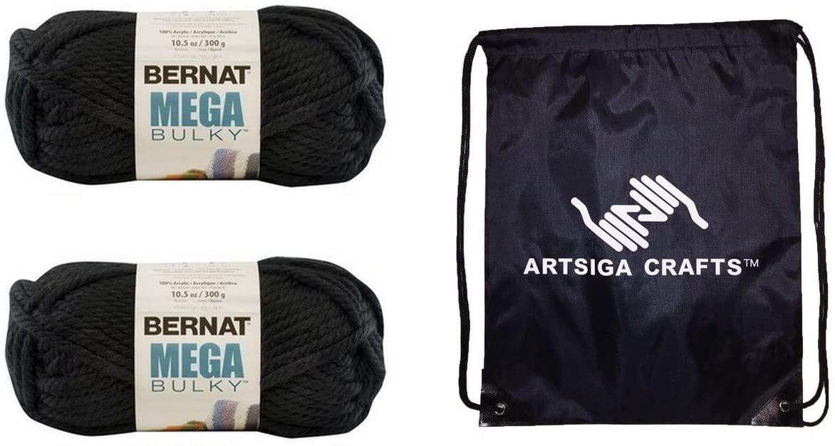 Bernat Knitting Yarn Mega Bulky Black 2-Skein Factory Pack (Same Dyelot) 161188-88040 Bundle with 1 Artsiga Crafts Project Bag