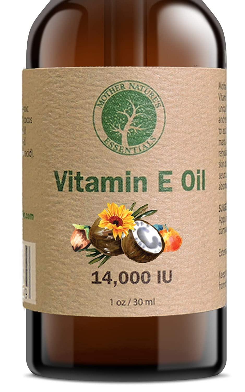 Vitamin E Oil 100% Pure & Natural 14000IU(d-Alpha tocopherol)+Jojoba Oil+Vitamin C+Coconut Oil. Unique Formula from Mother Nature. Unscented. 1oz.