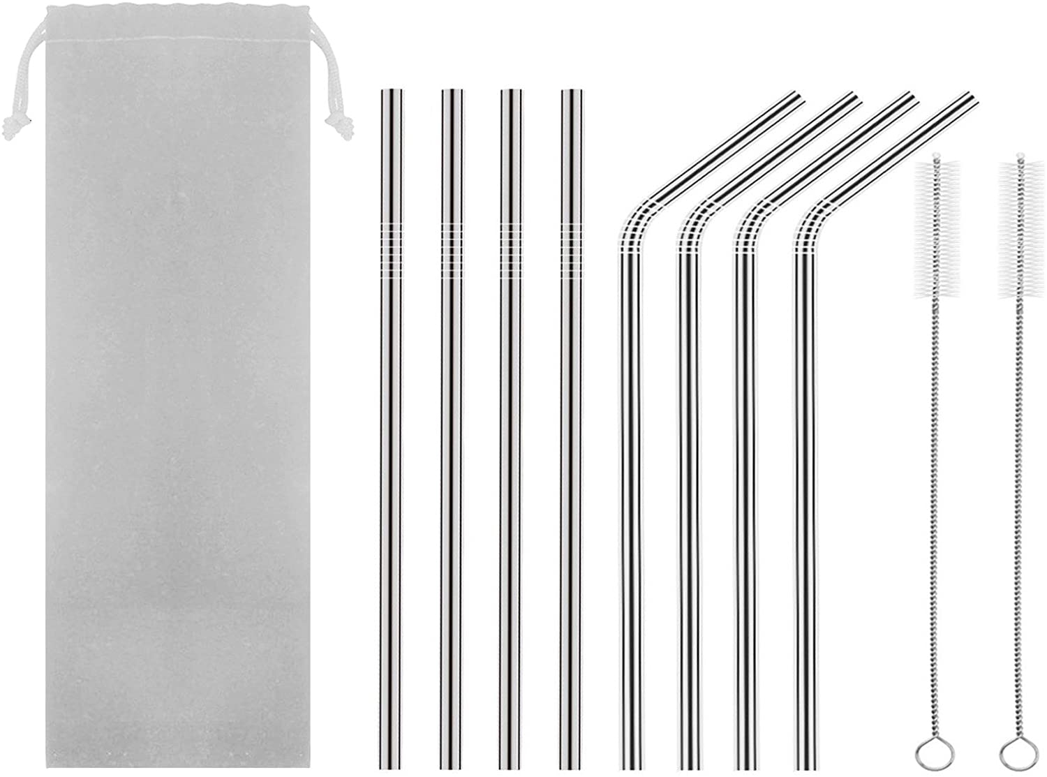 HAHOME 8.5in Stainless Steel Drinking Straws,Reusable Metal Straws (4 Straight + 4 Bent + 2 Brushes),Silver
