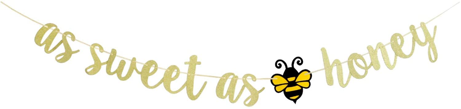 as sweet as honey Gold Glitter Banner,Baby First Birthday Party Banner,Bunting Garland Flag for Baby Girl Baby Boy First Birthday Decorations.