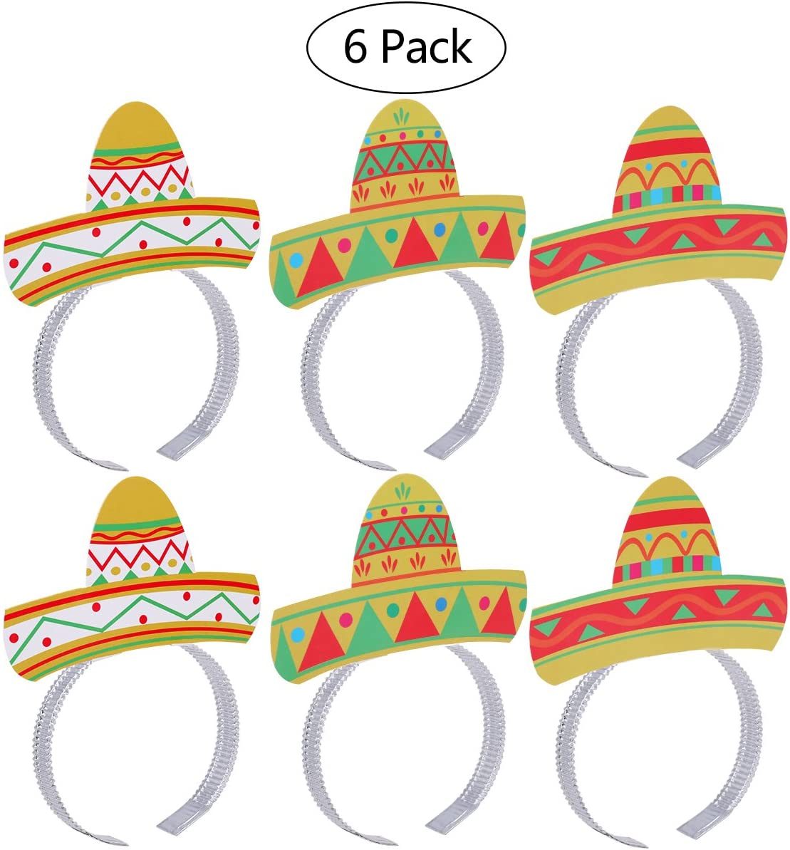 Tinksky Cinco De Mayo Fiesta Headband Party Colorful Sombrero Headbands Accessories Party Supplies 6pcs Pack