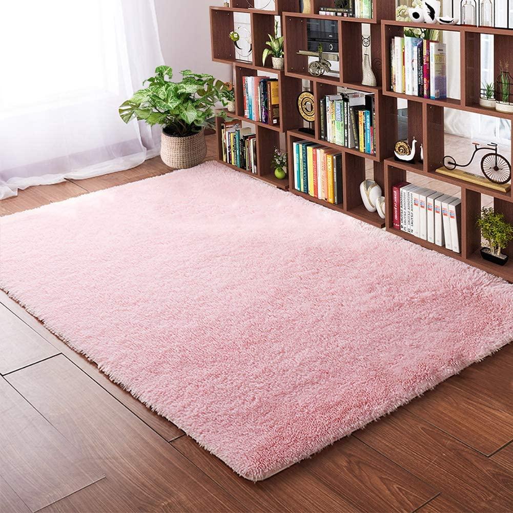 Softlife Fluffy Bedroom Area Rugs 4' x 5.3' Shaggy Rug for Girls Baby Room Living Room Nursery Christmas Home Decor Floor Carpet, Pink