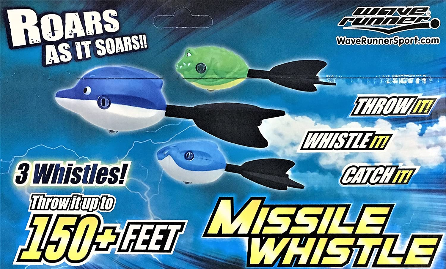 Wave Runner Animals Missile Whistler Three Football Styles: Sharks Style Football, Dolphin Style Football or Gators Style Football Fly and Whistles (One of Each 3)