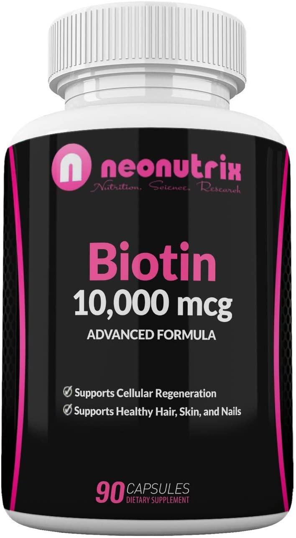 Biotin 10000mcg Supplement - Hair Skin and Nails Vitamins for Women and Men– Biotin for Hair Growth - Biotina para el Cabello 10000 - Non-GMO FDA Inspected Facilities 90 Capsules by Neonutrix