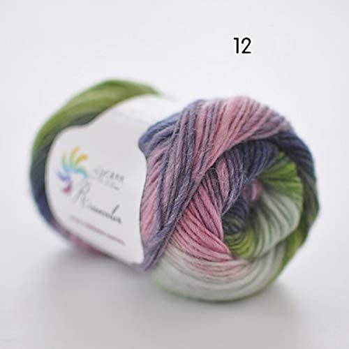 xinchenglove 1.76 Ounce / 3.52 Ounce / 7.05 Ounce/Ball Worsted Section-Dyed Rainbow Yarn 100% Pure Wool Yarn for DIY Hand Knitting Crochet Shawl Scarf Thread AQ003 (N12,3.52 Ounce)
