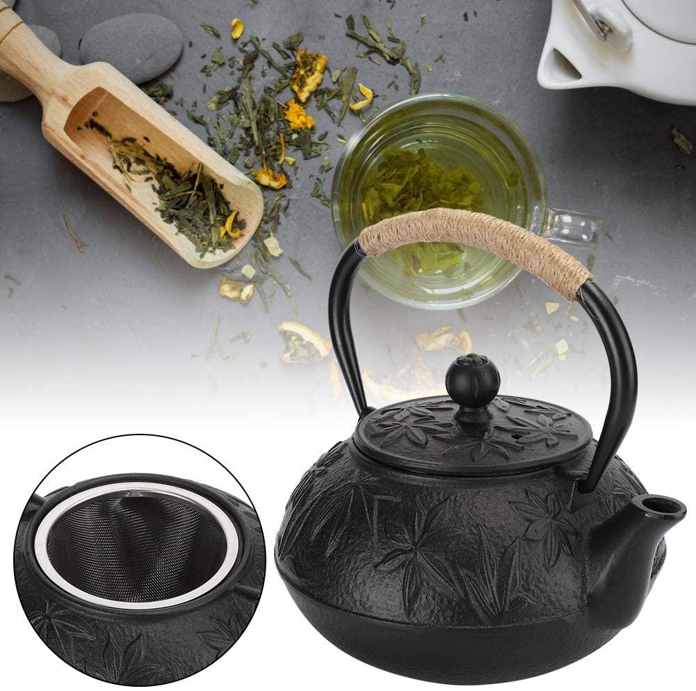 Tea Kettle, Cast Iron Imitating Japanese Teapot Uncoated Maple Leaf Style for Tea House Home Furshing 0.6L