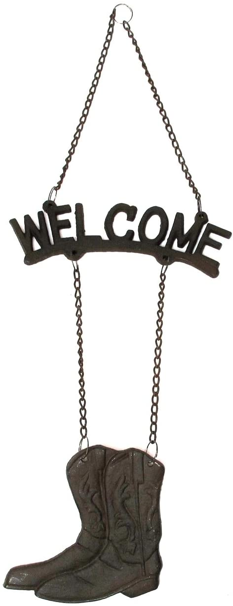 Cast Iron Welcome Boot Sign