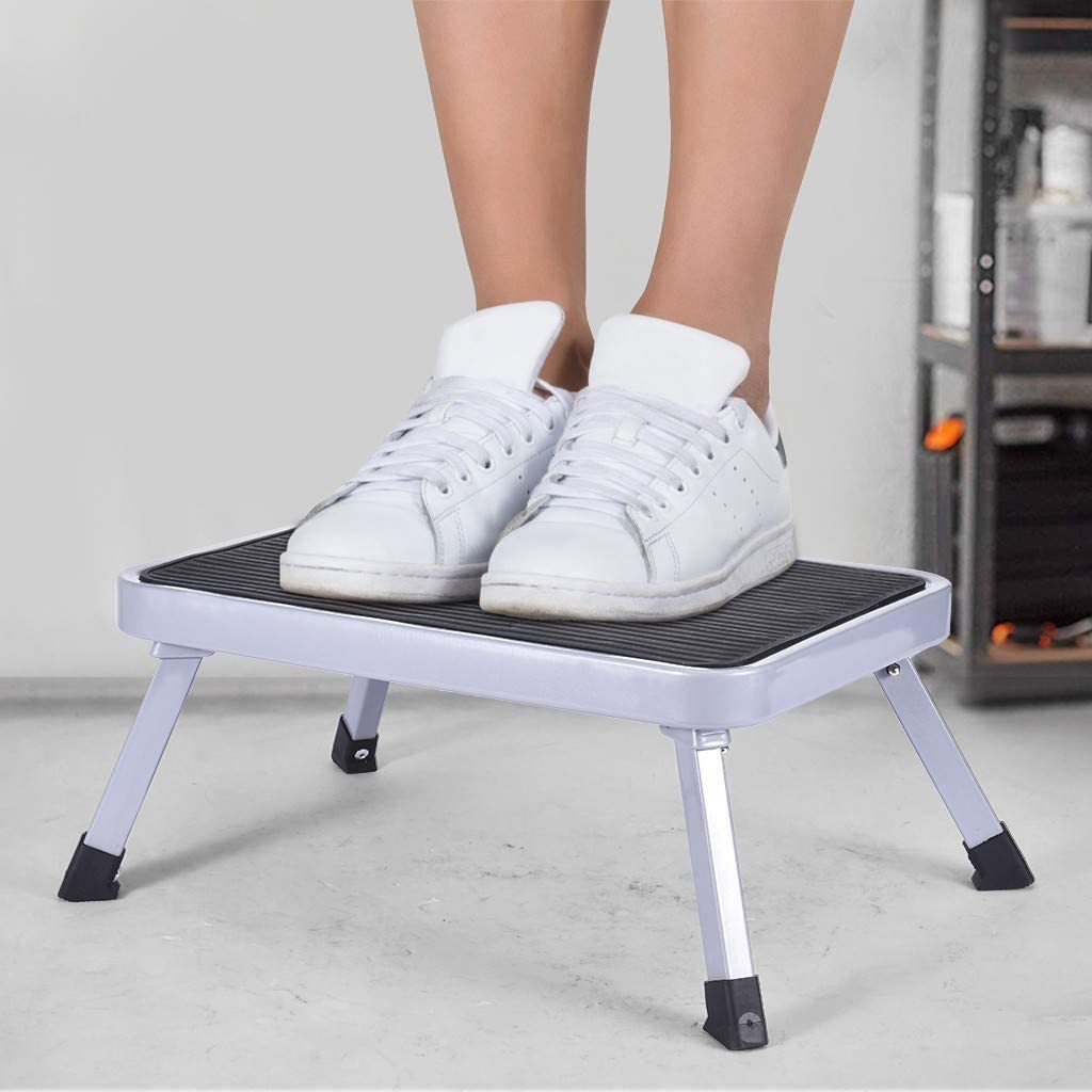 【Shipped from US】Folding Steel Step Stool, One Step Stool with Anti-Slip Sturdy and Wide Pedal, Foot Stool, Foldable Step Ladder, for Kids Adults at Home Kitchen Bathroom(15.0 x 10.6 x 6.9 inches)