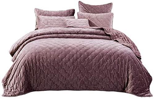 Tache Velvet Dreams Luxurious Velveteen Velour Super Soft Plush Warm Cozy Diamond Tufted Polka Dot Quilted Coverlet Light Purple Mauve Bedspread Set, California King