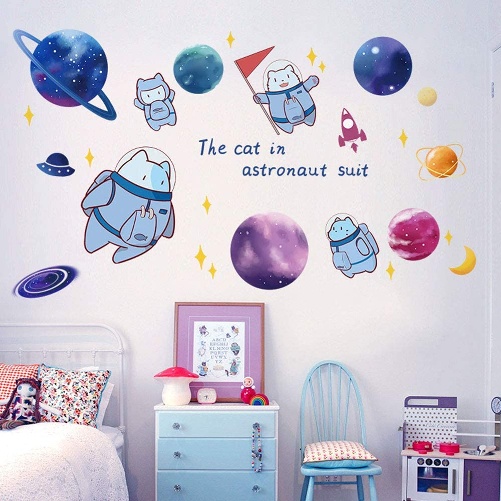 HO BEAR Astronaut Cat Outer Space Wall Decor Decals Blue Planet Astronaut Wall Art Decor Decals 3D DIY Peel Stick Wall Stickers Murals Paper for Kids Girls Boys Room Bedroom Wall Decorations