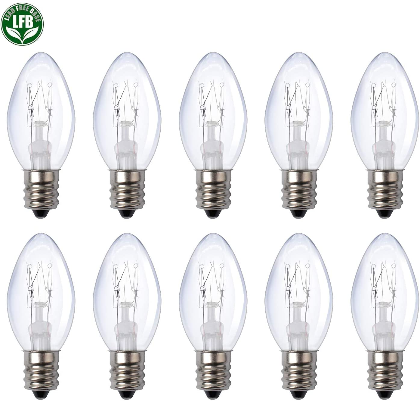 10-Pack of 7 Watt Light Bulbs Long Lasting Scentsy Bulb for Oil Burner Plug-in Night Light and Candle Warmers