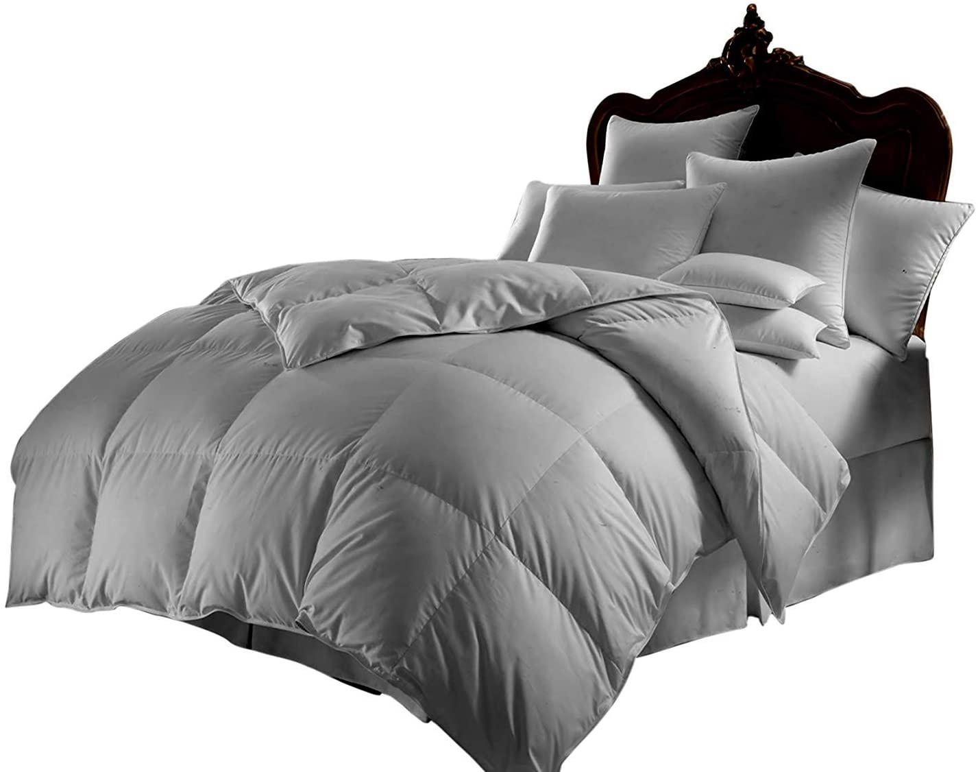 All Season Luxurious 800 Series,Luxury Goose Down Alternative Comforter, Queen Size - Quilt 3 Pc Comforter -100% Egyptian Cotton Comforter Set, Hotel Quality 600 GSM,Silver Grey, (90