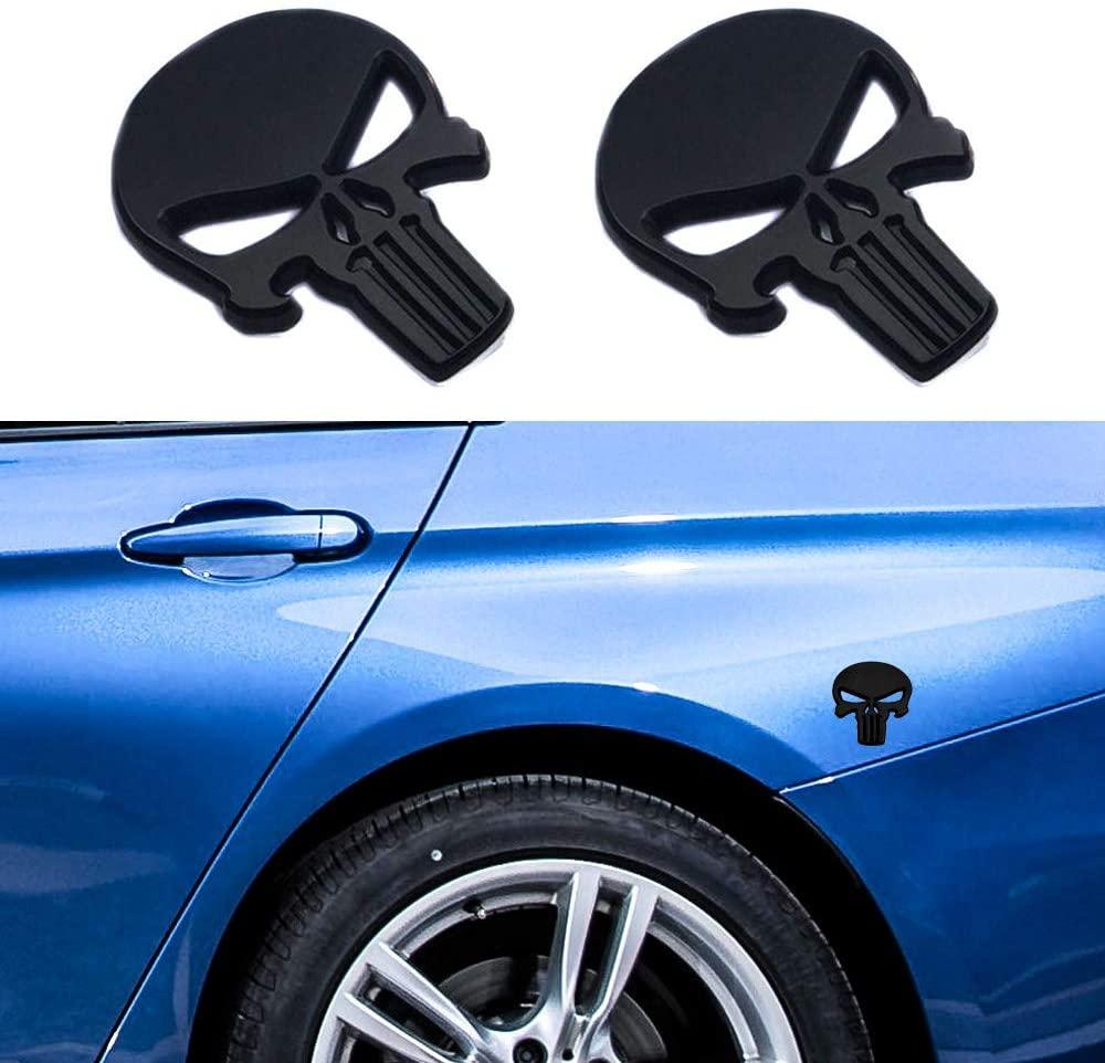 DIY1234 2 Pack Skull Logo Emblem Badge 3D Metal Punisher Decals Stickers Decoration Cars, Trucks, Motorcycle, Vehicle (Black)