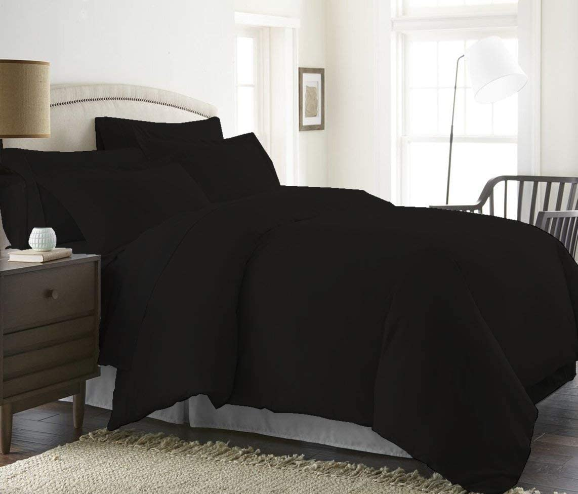 Best Luxury Linens Duvet Cover Set Queen 88'' X 88'' Size 3pc Duvet Cover Set with Button Closure & Corner Ties, Ultra Silky Soft Premium (100% Natural Cotton) 920 Thread Count -Black Solid