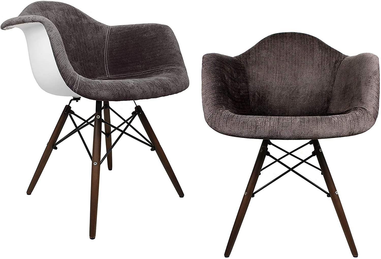Mid-Century Modern Velvet Fabric Upholstered Accent Arm Chair with Dark Walnut Wood Eiffel Legs Set of 2 (Cocoa Brown)