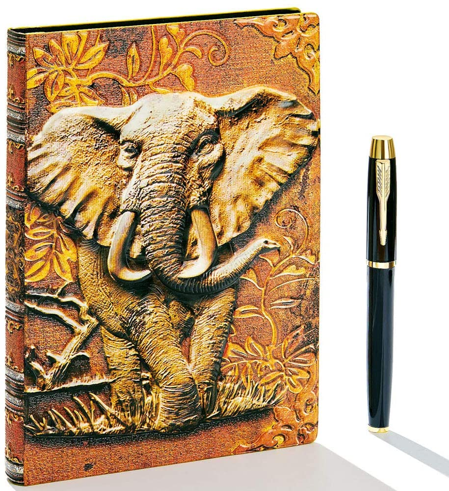 Vintage Leather Journal Writing Notebook with Pen Set,A5,200Pages,Handmade Daily Notepad Sketchbook,Travel Diary&Notebook to Write in, for Women Men (Elephant(Multicolour))