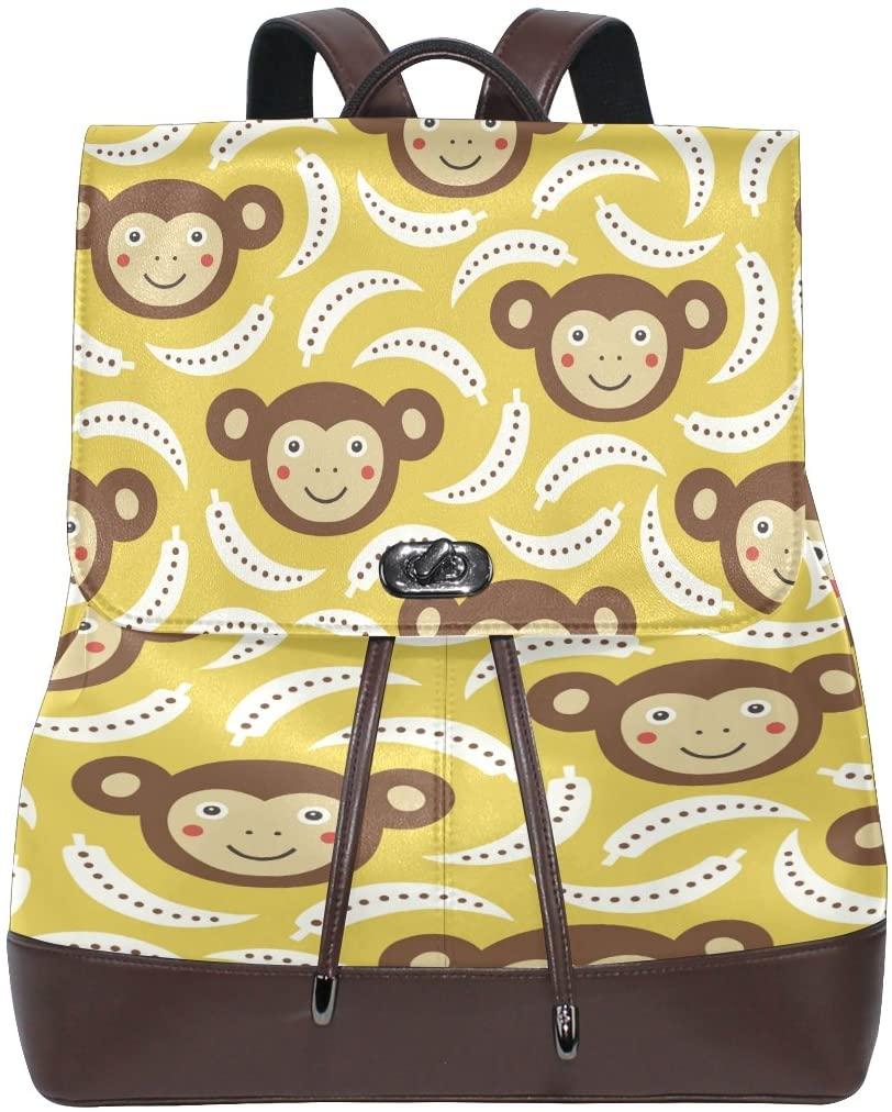 Women Genuine Leather Backpack Cute Monkey Lady Travel Shoulders Bag Girl Schoolbag