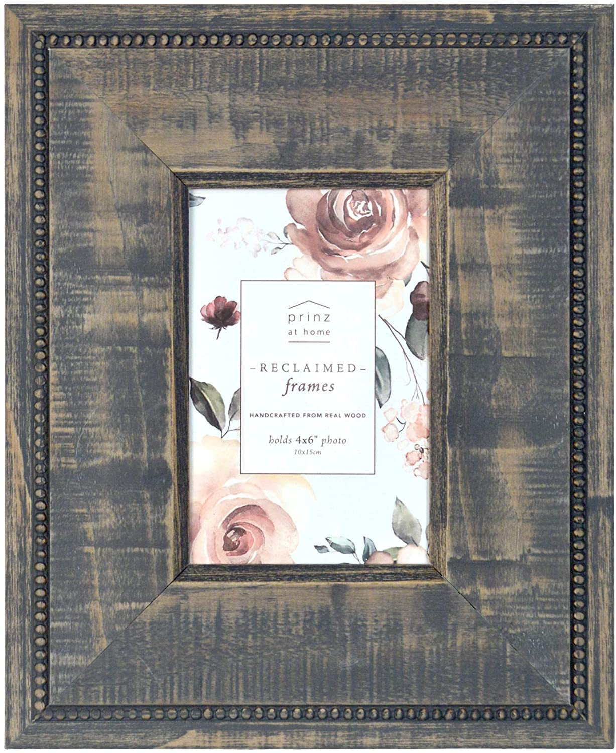 PRINZ Reclaimed 4 x 6 Beaded Rustic Wood Picture Frame, Gray