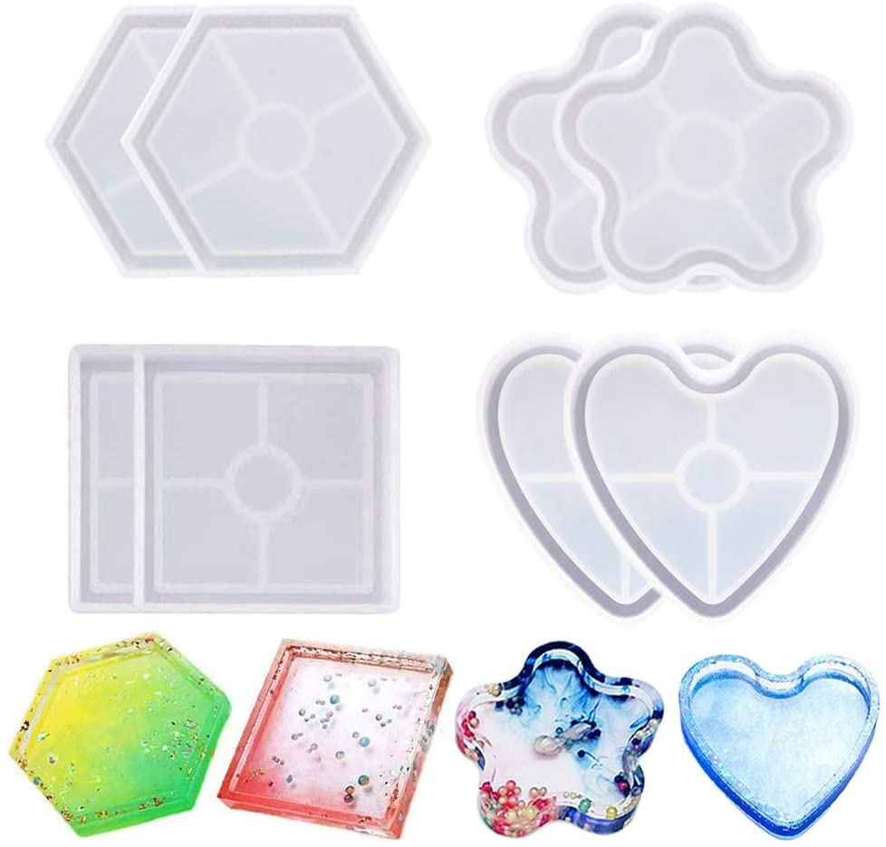 8 Pack DIY Coaster Silicone Mold, Resin Molds for Casting Eco-Friendly Sturdy Square Heart Flower Hexagon Mold Bottom Bracket for Beginners