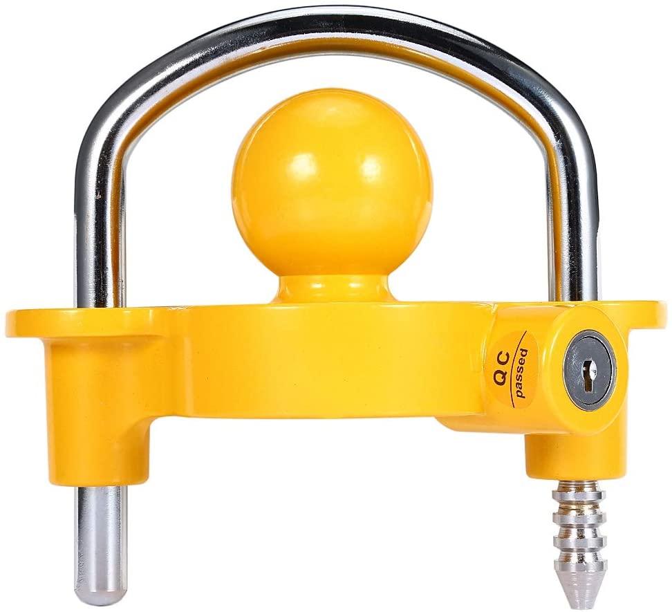 Greensen Trailer Hitch Lock, Universal Coupler Lock, Heavy Duty Cast Steel Trailer Hitch Coupler Security Lock with Adjustable Ratchet, Durable, Yellow