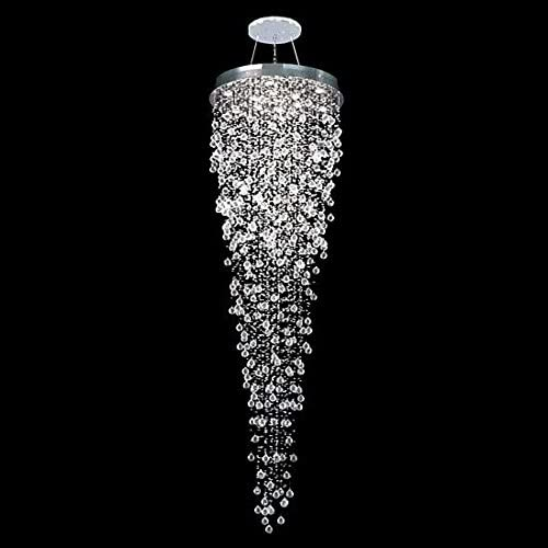 APBEAM Contemporary Crystal Raindrop Staircase Chandelier, Pendant Lighting Suspension Light Fixtures for Stair Foyer Entryway 32