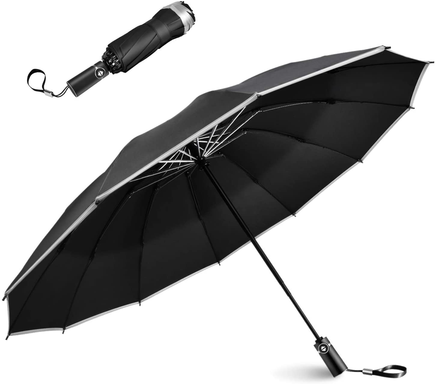 Lesoom Travel Umbrella Reverse Folding Inverted Umbrella Windproof Withstand Powerful Gusts Sun Umbrella with Teflon Coating and 12 Resin-reinforced Fiberglass Ribs