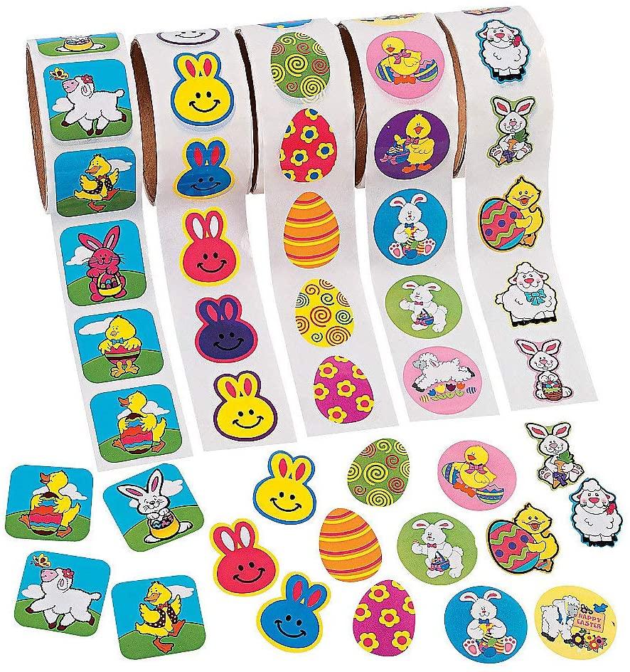 Fun Express - Easter Roll Sticker Assortment (5rls) for Easter - Stationery - Stickers - Stickers - Roll - Easter - 5 Pieces