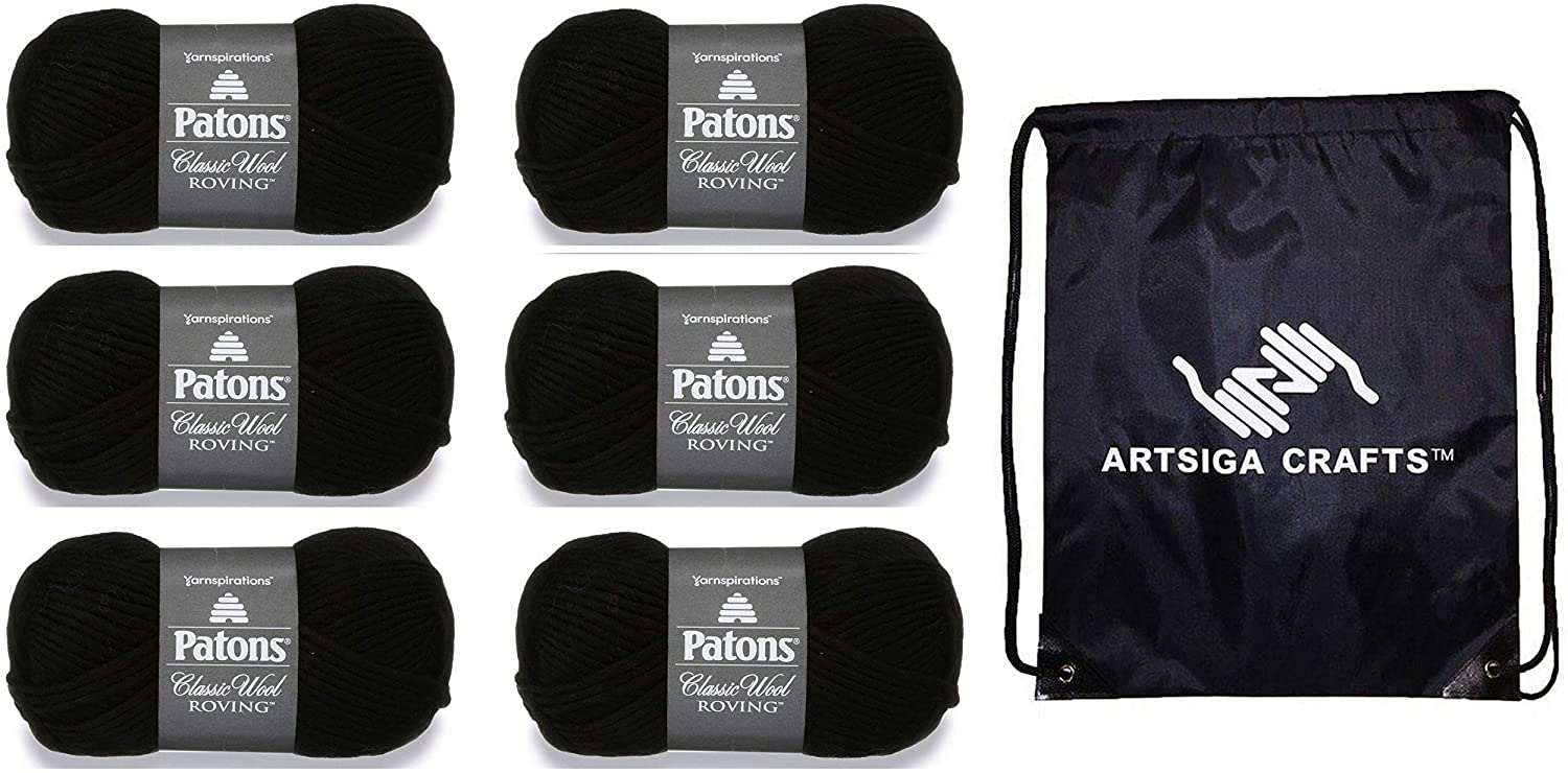 Patons Knitting Yarn Classic Wool Roving Black 6-Skein Factory Pack (Same Dye Lot) 241077-77041 Bundle with 1 Artsiga Crafts Project Bag