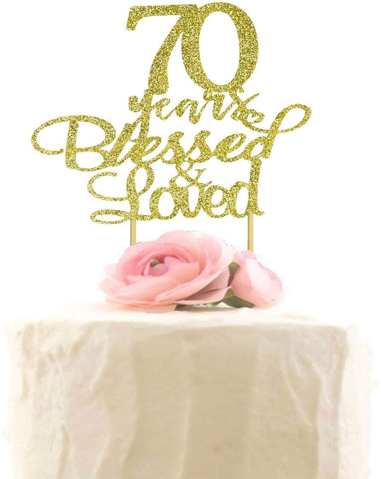 70 Years Blessed & Loved Cake Topper, 70th Anniversary Birthday Wedding Party Decorations, Gold Glitter