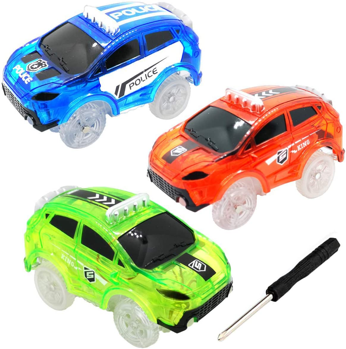 HZMENG Track Cars Compatible with Magic Tracks and Neo Tracks Light Up Racing Track Accessories with 5 Flashing LED Lights Glow in The Dark Best Toys for Boys and Girls (3 Pack)