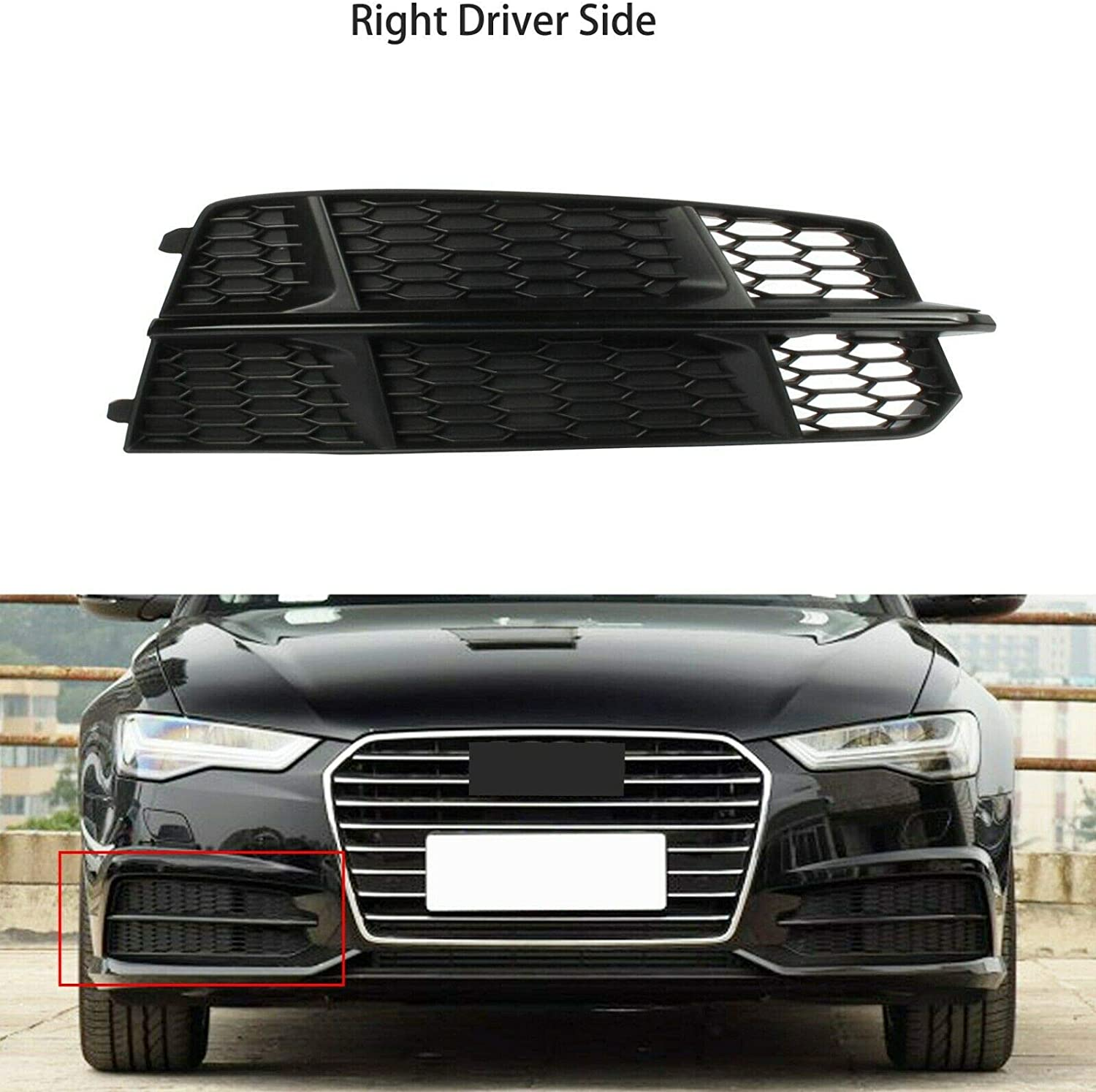 MUTUSAISI Fit for Audi A6 S-Line 2016-2018 Right Front Grille Honeycomb Grill Cover Black