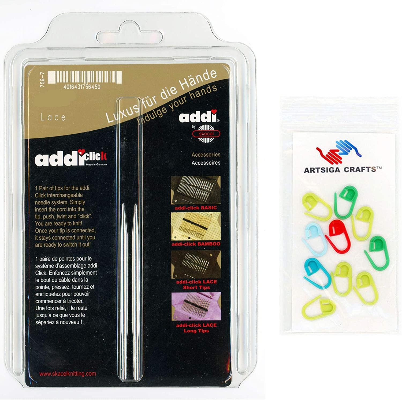 addi Knitting Needles Click Interchangeable Tips Short Rocket Lace Set White-Bronze Finish 3.25 inch (8cm) Size US 04 (3.5mm) Bundle with 10 Artsiga Crafts Stitch Markers
